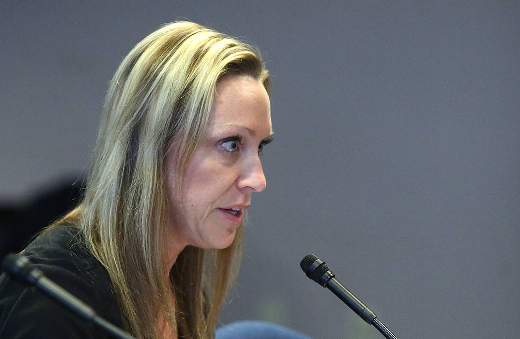 Suzie Owens testifies in support of Assembly Bill 113, on Monday, Feb. 27, 2017 at the Grant Sawyer State Office Building. The bill would require employers to provide mothers a break, paid or unpa ...