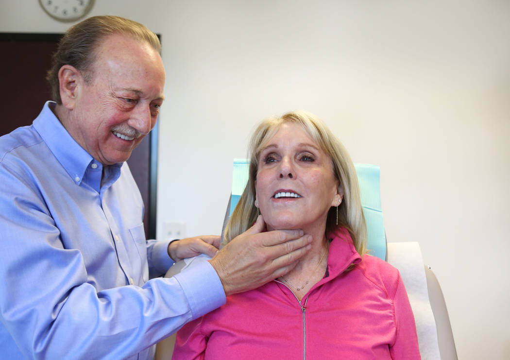 F. Victor Rueckl, MD. does a routine check on patient Anne Kohn's skin at Lakes Dermatology in Las Vegas, Wednesday, May 3, 2017. (Elizabeth Brumley Las Vegas/Review-Journal) @EliPagePhoto