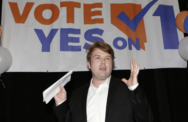 Joe Duffy, Yes on 1 campaign manager, speaks to the pro-background checks before a gun sale or transfer groups during a watch party at Cucina Restaurant Tuesday, Nov. 8, 2016 in the Crystals in La ...