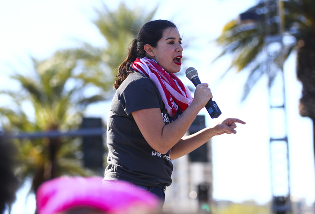 State Sen. Yvanna Cancela speaks as supporters of women's rights gather outside of the Lloyd George U.S. Courthouse in downtown Las Vegas on Saturday, Jan. 21, 2017. (Chase Stevens/Las Vegas Revie ...