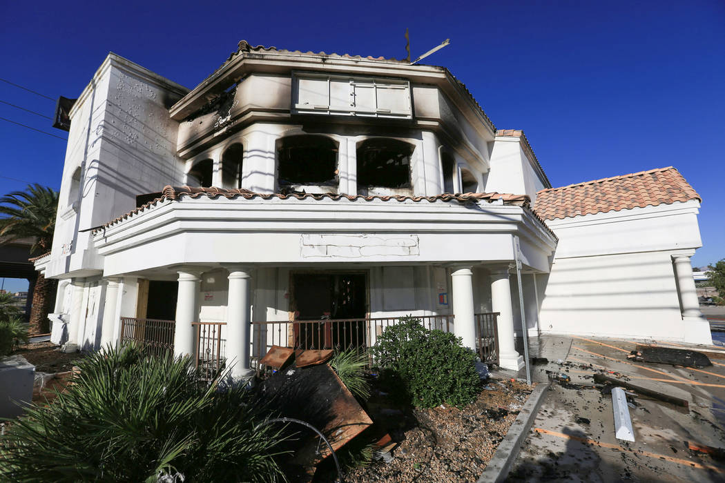 A vacant building at 5285 Dean Martin Drive, near the Las Vegas Strip, was damaged in a two-alarm fire on Thursday, May 4, 2017. Brett Le Blanc Las Vegas Review-Journal @bleblancphoto