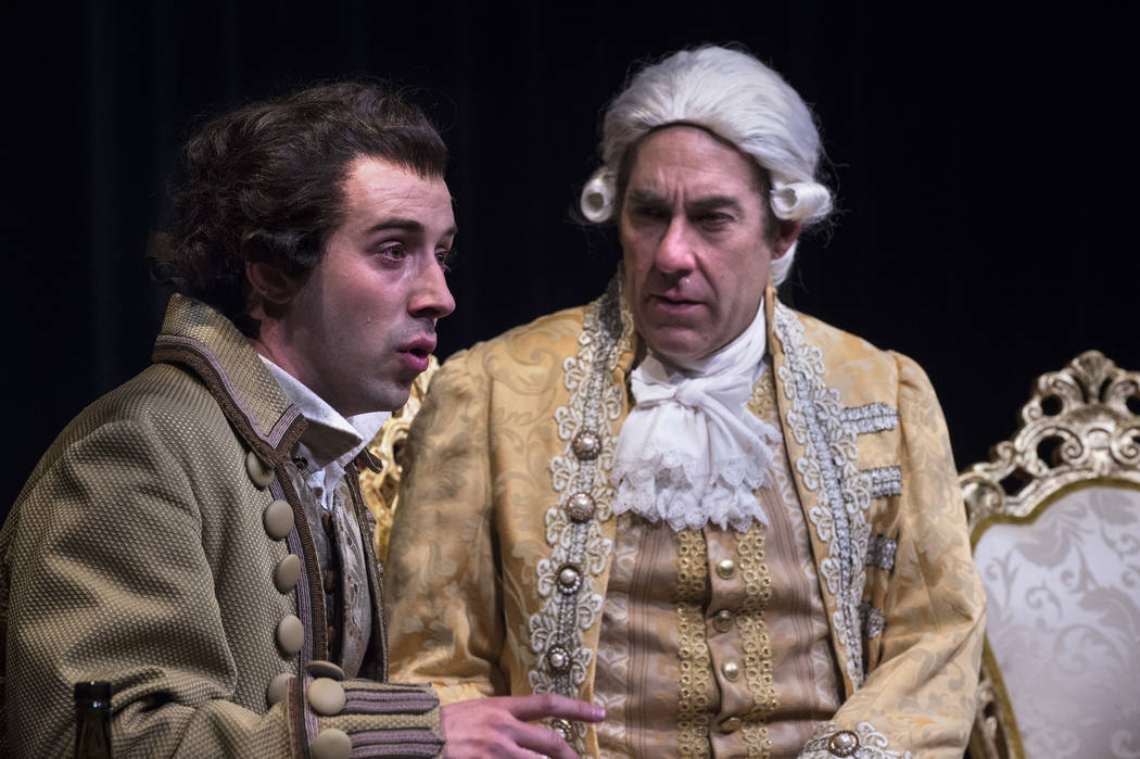 "The Utah Shakespeare Festival's 2015 production of ""Amadeus"" featured Tasso Feldman, left, Wolfgang Amadeus Mozart and David Ivers as Antonio Salieri. Ivers, the festival's co-artistic dir ..."