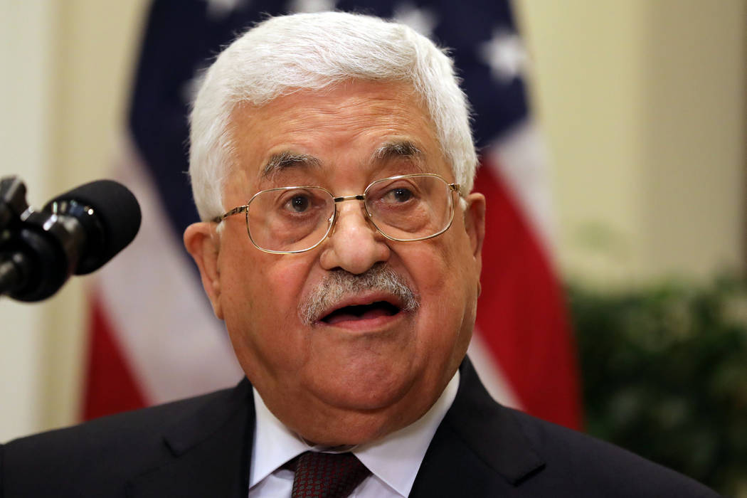 Palestinian President Mahmoud Abbas delivers a statement accompanied by U.S. President Donald Trump (not pictured) during a visit to the White House in Washington D.C., U.S., May 3, 2017. (Carlos  ...