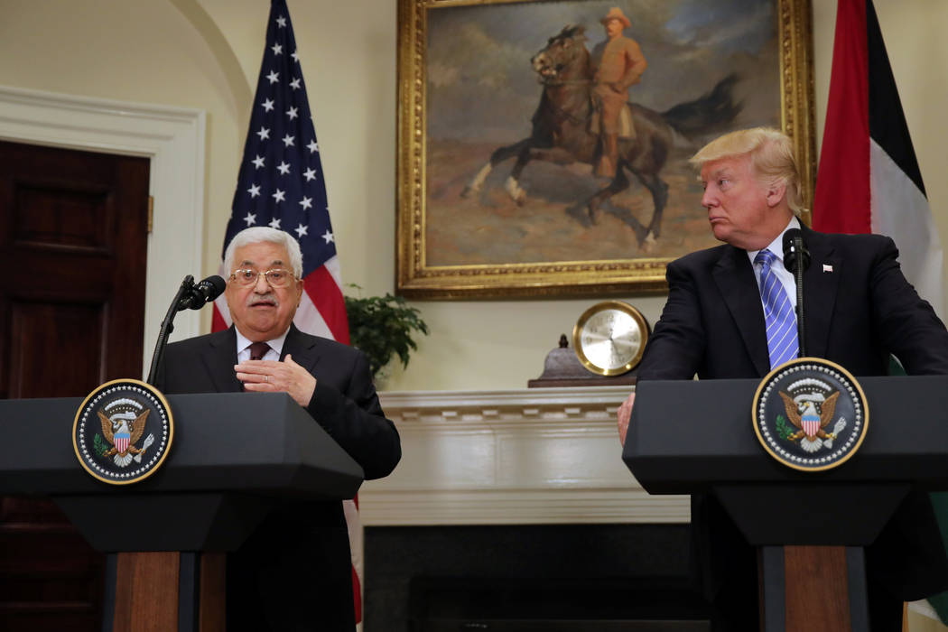 Palestinian President Mahmoud Abbas delivers a statement accompanied by U.S. President Donald Trump during a visit to the White House in Washington, D.C., May 3, 2017. (Carlos Barria/Reuters)
