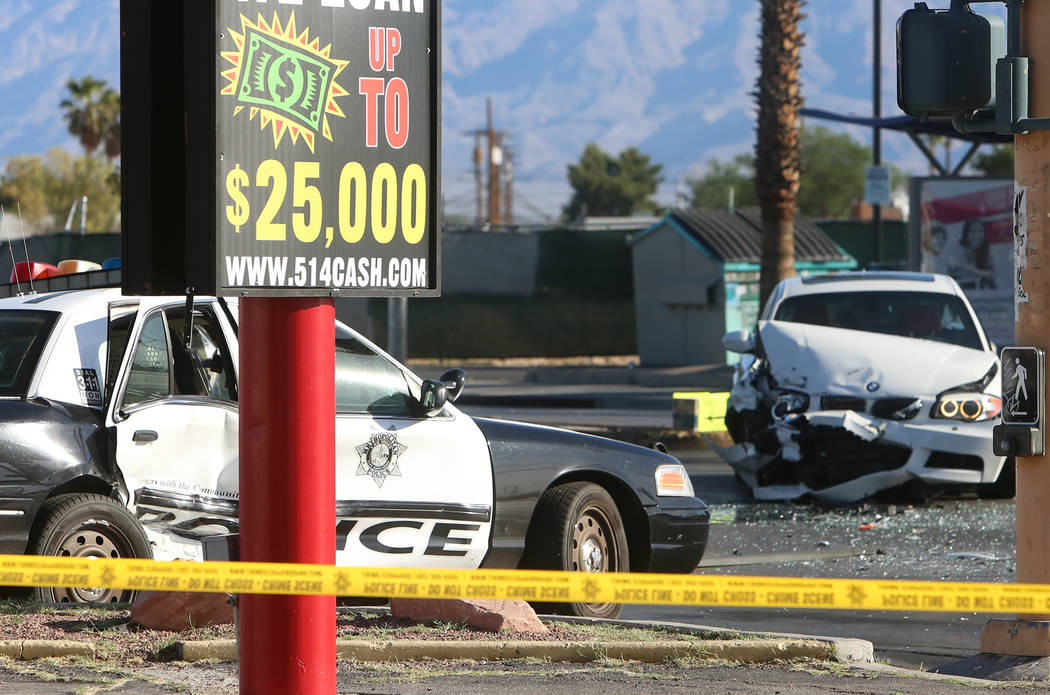 The scene of a crash at Rancho and Vegas drives where one officer was taken to the hospital on Wednesday, May 3, 2017. Bizuayehu Tesfaye Las Vegas Review-Journal @bizutesfaye