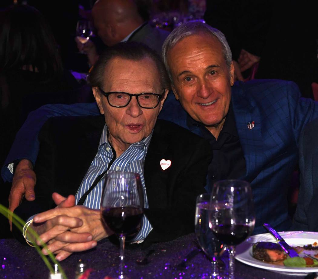 "Larry King and Keep Memory Alive co-founder and Chairman Larry Ruvo attend the Keep Memory Alive ""Power of Love Gala"" at MGM Grand Garden Arena on Thursday, April 27, 2017, in Las Vegas. (Denise T ..."