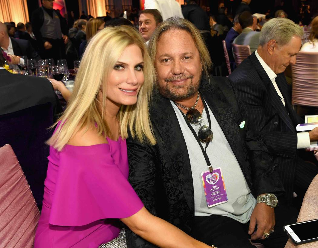 "Rain Hannah and Vince Neil attend the Keep Memory Alive ""Power of Love Gala"" at MGM Grand Garden Arena on Thursday, April 27, 2017, in Las Vegas.  (Denise Truscello/Getty Images for Keep Memory Alive)"