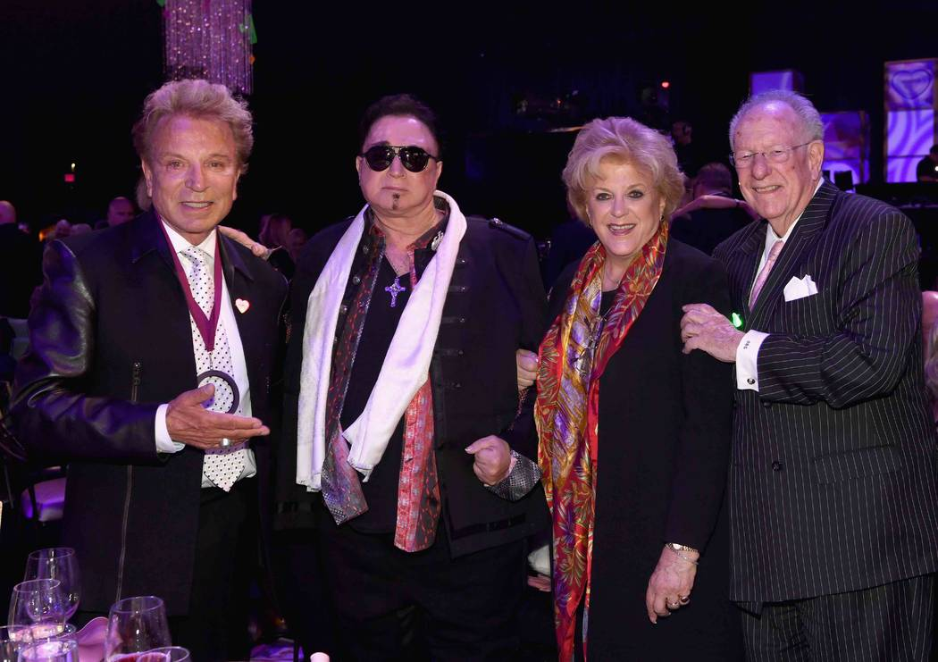 "Siegfried Fischbacher, recipient of the inaugural Caregiver Award, Roy Horn, Las Vegas Mayor Carolyn Goodman and former Las Vegas Mayor Oscar Goodman attend the Keep Memory Alive ""Power of Love Ga ..."