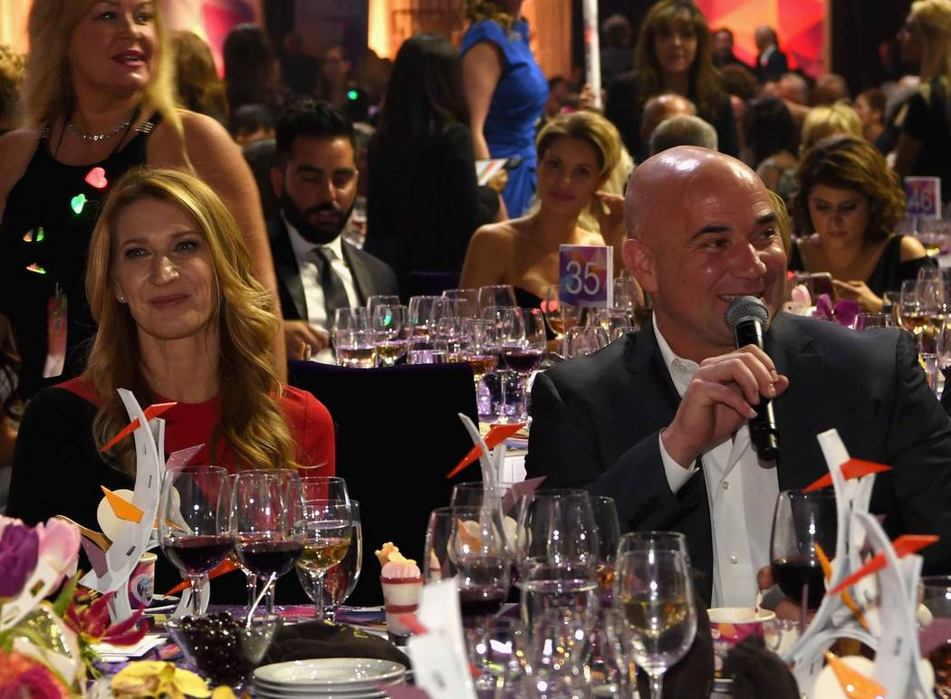 "Stefanie Graf and Andre Agassi attend the Keep Memory Alive ""Power of Love Gala"" at MGM Grand Garden Arena on Thursday, April 27, 2017, in Las Vegas.  (Denise Truscello/Getty Images for Keep Memor ..."