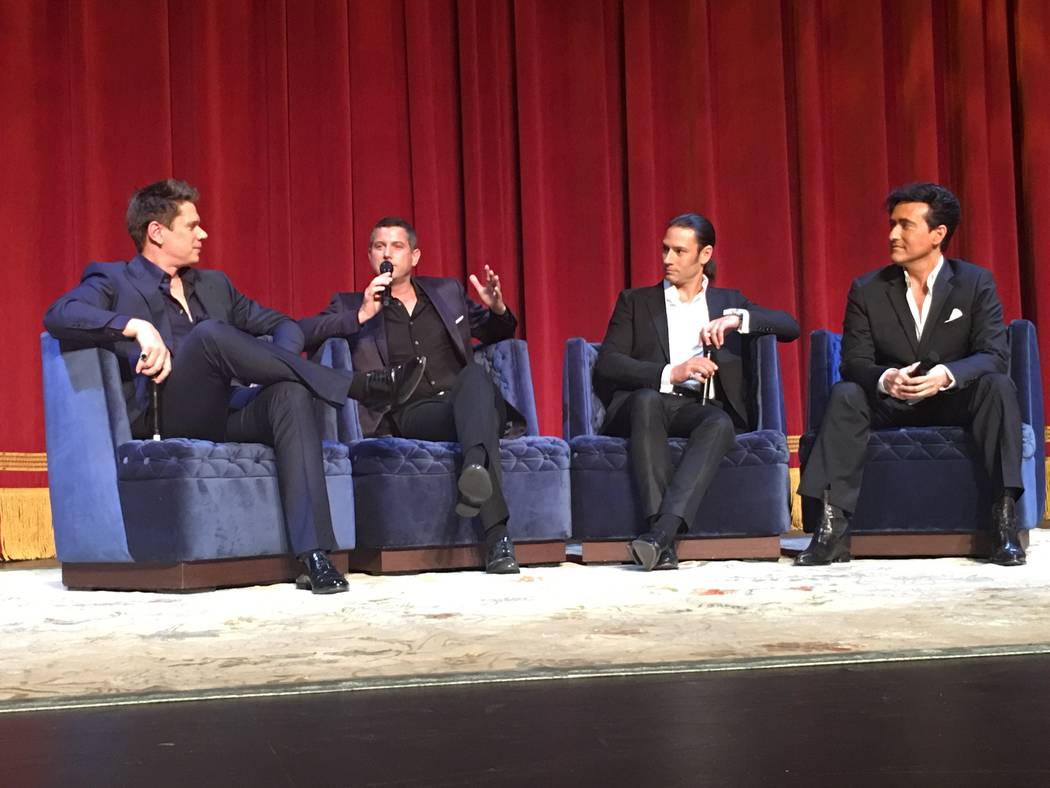 The gents from Il Divo, from left: Dave Miller, Sebastien Izambard, Urs Bühle and Carlos Marín, shown at Venetian Theater on Tuesday, May 2, 2017. (John Katsilometes/Las Vegas Review-Journal). @ ...