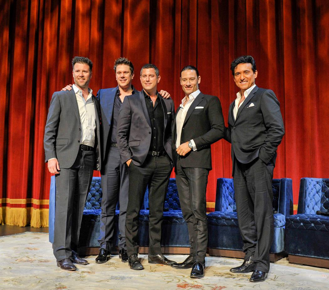 "Kurt Melien, left, president of Live Nation Las Vegas, joins Il Divo (David Miller, Sebastien Izambard, Urs Buhler and Carlos Marin) in announcing the quartet's headline limited engagement, ""Il Di ..."