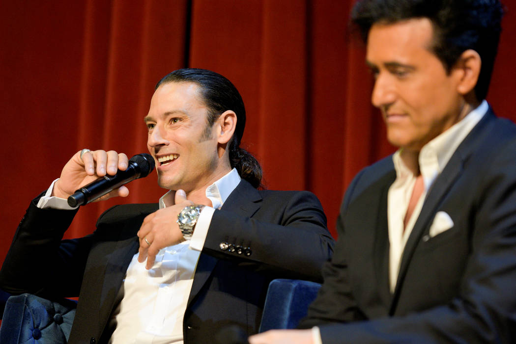"""Urs Buhler and Carlos Marin of Il Divo discuss their headline limited engagement, """"Il Divo -- This Is Your Night: Live in Las Vegas,"""" at The Venetian on Tuesday, May 2, 2017, in Las Vegas. (Mark D ..."""