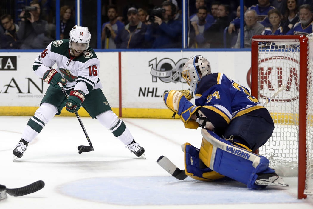 Minnesota Wild's Jason Zucker (16) is unable to score past St. Louis Blues goalie Jake Allen during the first period in Game 4 of an NHL hockey first-round playoff series Wednesday, April 19, 2017 ...