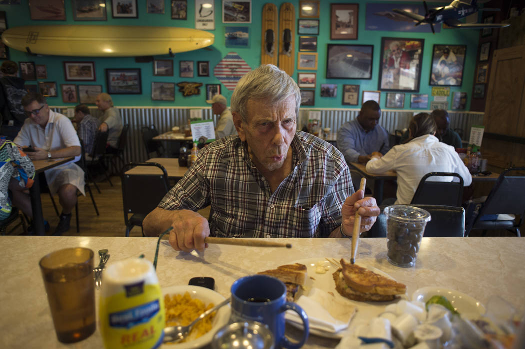 Sandy Nelson, 78, pretends to play the drums on a sandwich at The Coffee Cup on Thursday, May 4, 2017, in Boulder City. Nelson, who has been drumming for decades, is among the acts playing the Dil ...