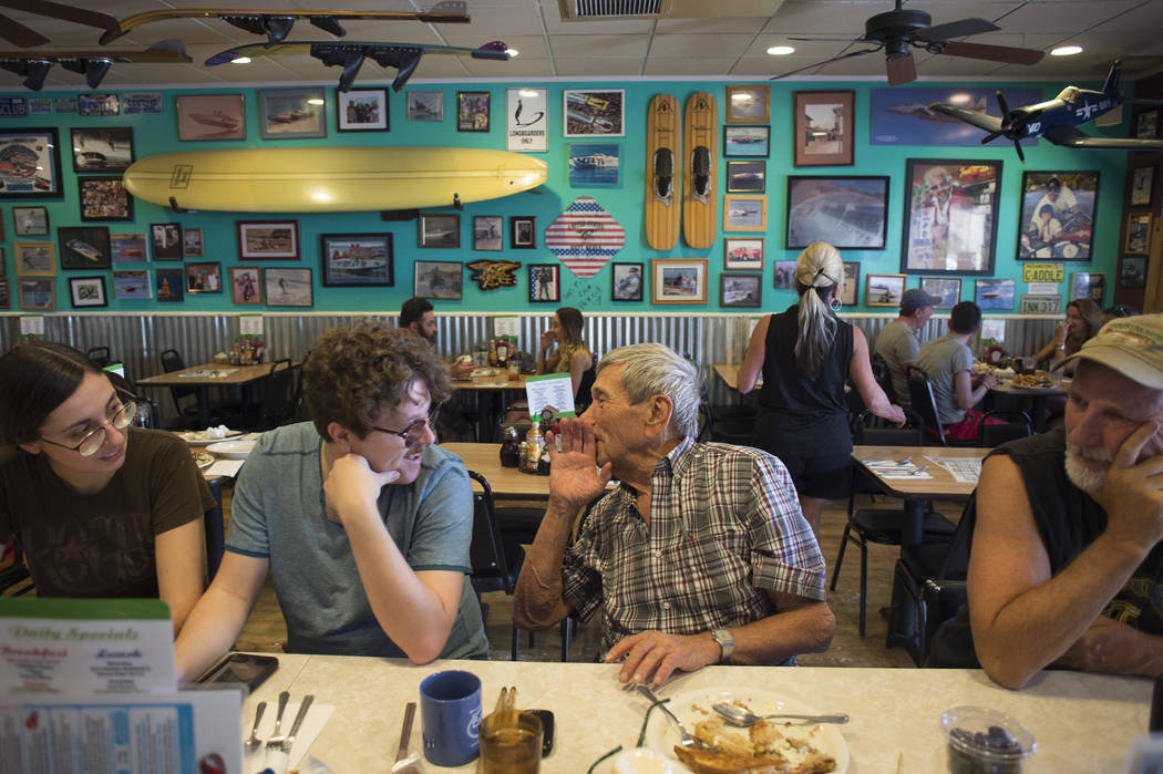 Tsvetelina Stefanova, from left, main organizer of Dillinger Block Party, James Howard Adams, who plays in a band with Stefanova, Sandy Nelson and David Dilley gather at The Coffee Cup on Thursday ...