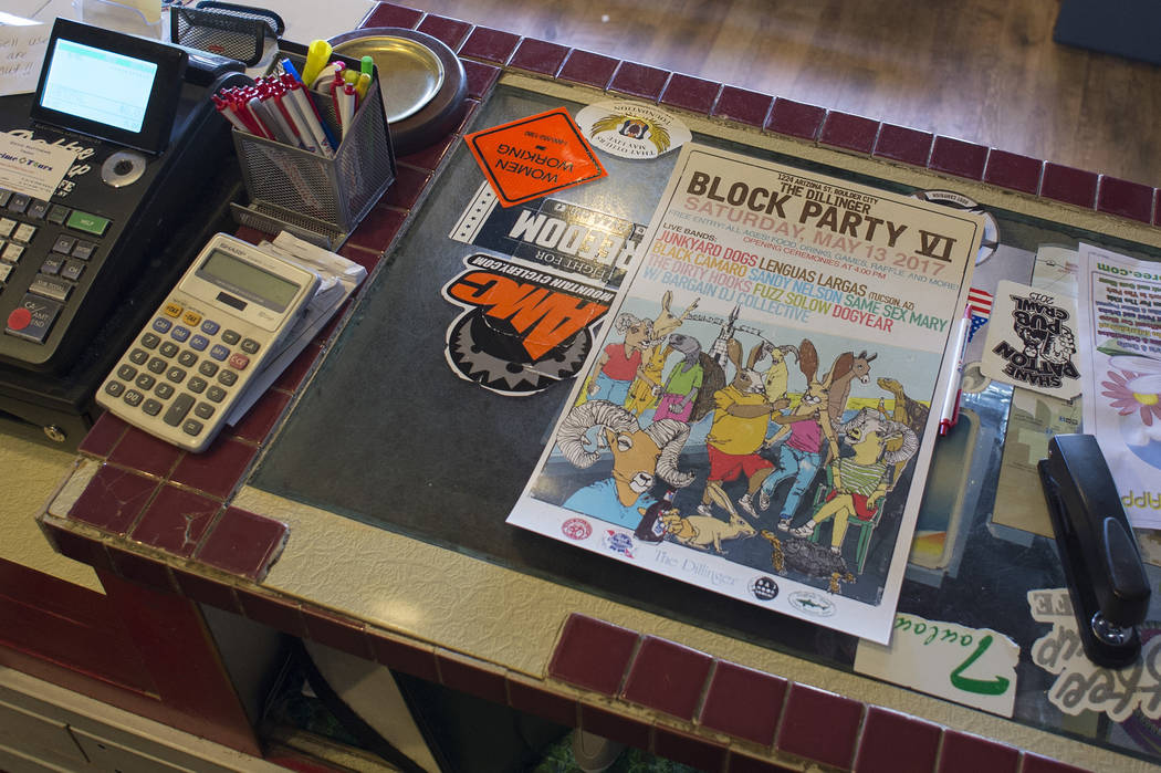 A poster for Dillinger Block Party on a counter at The Coffee Cup on Thursday, May 4, 2017, in Boulder City. Bridget Bennett Las Vegas Review-Journal @bridgetkbennett