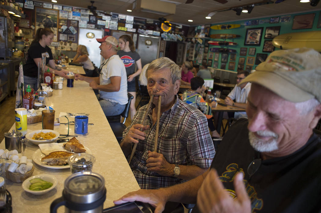 Sandy Nelson, 78, goofs around with his drumsticks at The Coffee Cup on Thursday, May 4, 2017, in Boulder City. Nelson, who has been drumming for decades, is one of the acts for Dillinger Block Pa ...