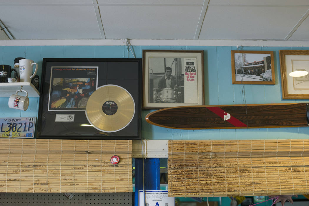 Sandy Nelson memorabilia hangs on the wall at The Coffee Cup on Thursday, May 4, 2017, in Boulder City. Nelson, one of acts for Dillinger Block Party, is a regular at The Coffee Cup. Bridget Benne ...