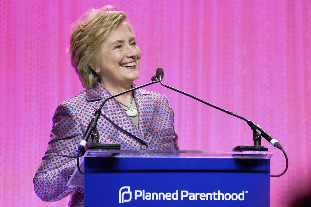 Honoree former Secretary of State Hillary Clinton speaks at the Planned Parenthood 100th Anniversary Gala on Tuesday, May 2, 2017 in New York. (Charles Sykes/Invision/AP)