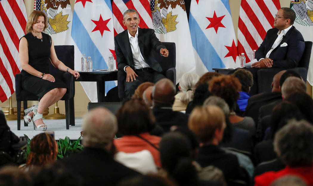 Former U.S. President Barack Obama speaks during a community event on the Obama Presidential Centre at the South Shore Cultural Centre in Chicago, Illinois, U.S., May 3, 2017. Kamil Krzaczynski/Re ...