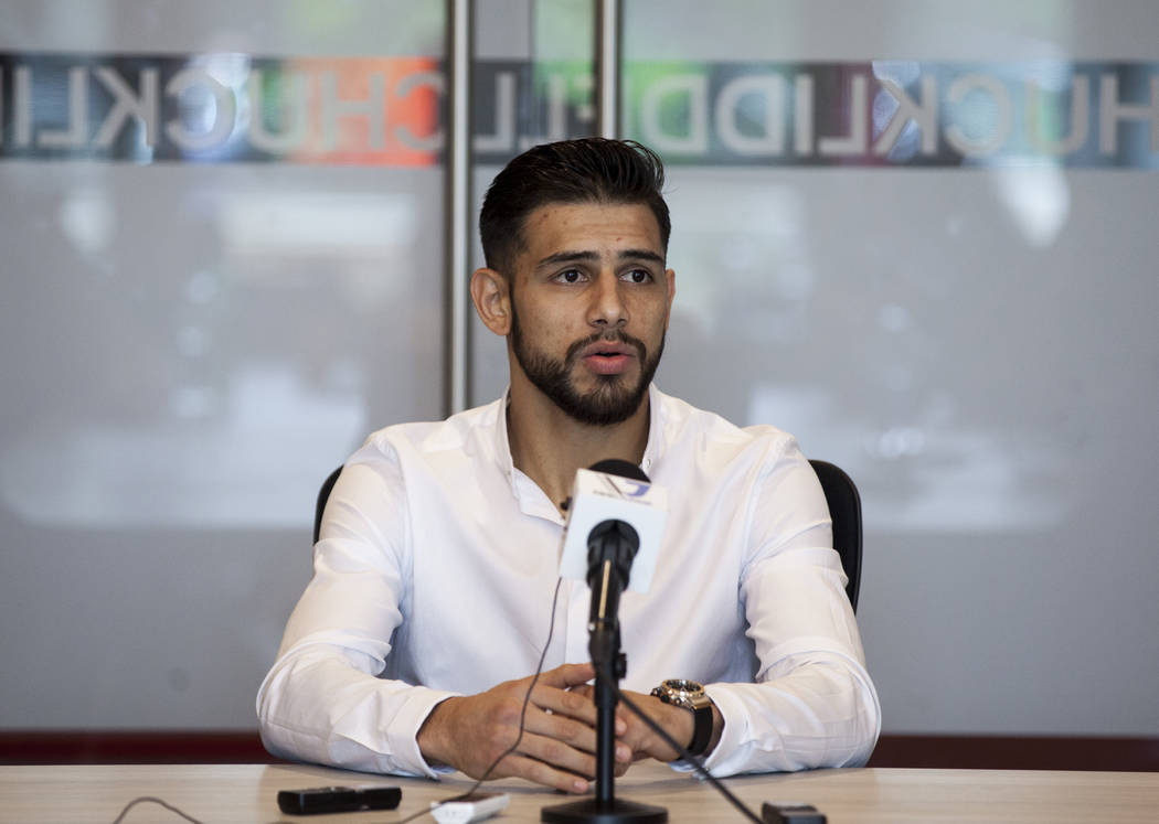 Yair Rodriguez during an interview with media at the new UFC Corporate Campus and Performance Institute in Las Vegas on Friday, May 5, 2017. Miranda Alam Las Vegas Review-Journal @miranda_alam