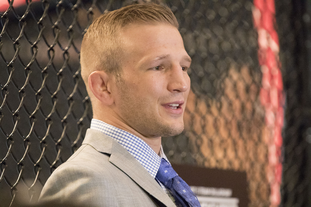 UFC bantamweight title contender T.J. Dillashaw speaks to media about coaching TUF 25: Redemption opposite UFC bantamweight champion Cody Garbrandt at The Ultimate Fighter Gym in Las Vegas. on Feb ...
