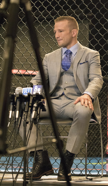 Former UFC bantamweight champion T.J. Dillashaw speaks to media about coaching TUF 25: Redemption at The Ultimate Fighter Gym in Las Vegas. on Feb. 15, 2017. (Heidi Fang/Las Vegas Review-Journal)  ...