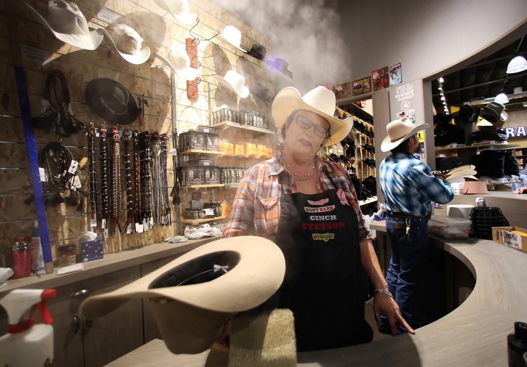 Jill Cook steams a wool hat at Boot Barn store on Thursday, May 4, 2017, in Las Vegas. Bizuayehu Tesfaye Las Vegas Review-Journal @bizutesfaye
