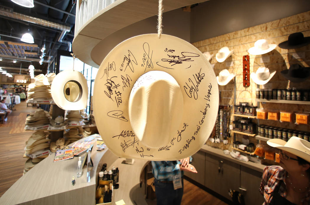 A hat signed by NFR competitors displayed at Boot Barn store on Thursday, May 4, 2017, in Las Vegas. Bizuayehu Tesfaye Las Vegas Review-Journal @bizutesfaye