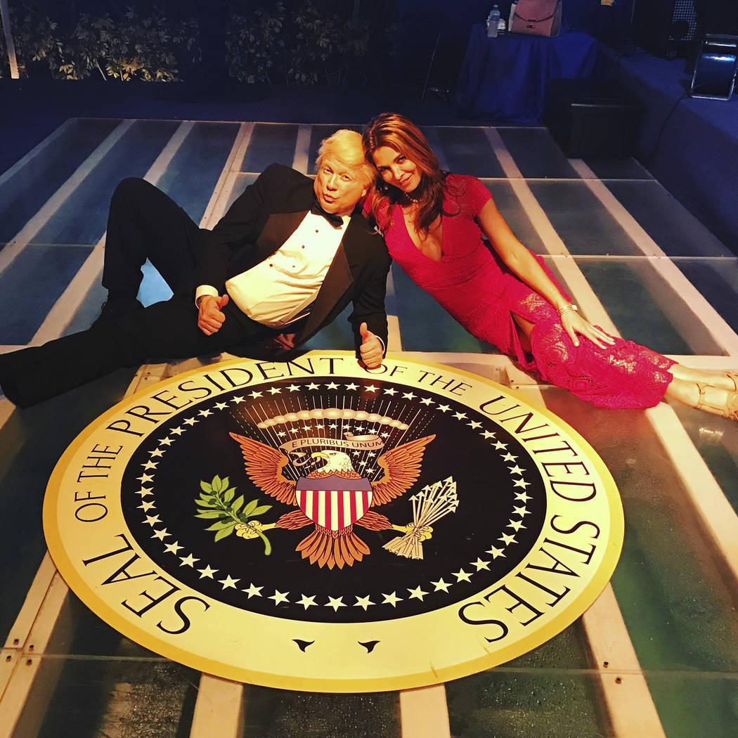 Donald Trump Impersonator John Di Domenico and Mira Tzur Melania Trump Impersonator at Inaugural Event
