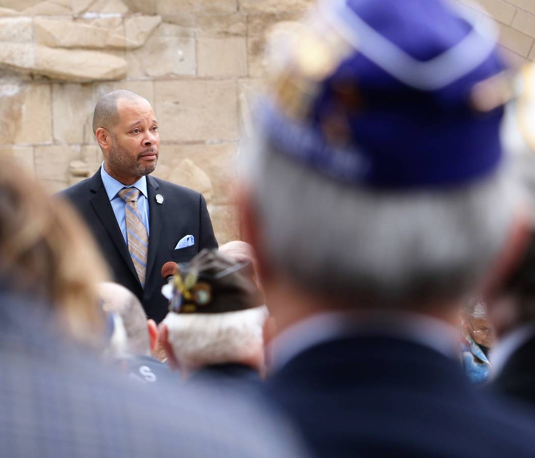 Sen. Majority Leader Aaron Ford, D-Las Vegas, quotes Abraham Lincoln in a speech honoring veterans at 2017 Veterans and Military Day at the Legislature, Wednesday, March 15, 2017. (Victor Joecks/L ...