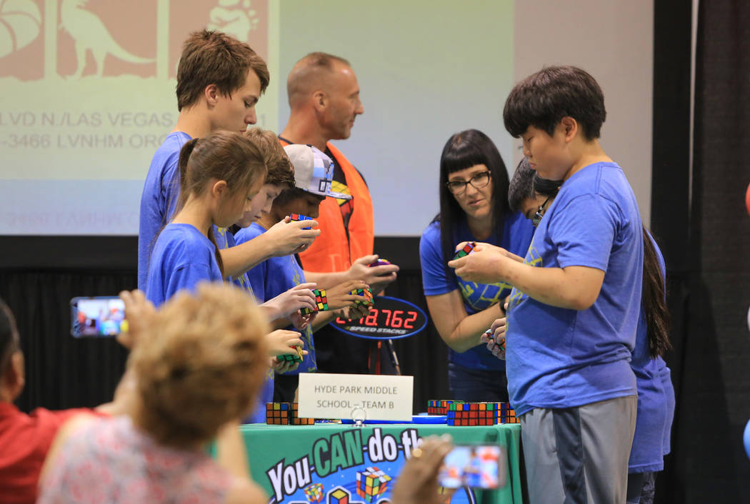 A team from Hyde Park Middle School competes in competitive Rubik's cubing at the Las Vegas Science and Technology Festival at the Cashman Center in Las Vegas on Saturday, May 6, 2017. Brett Le Bl ...
