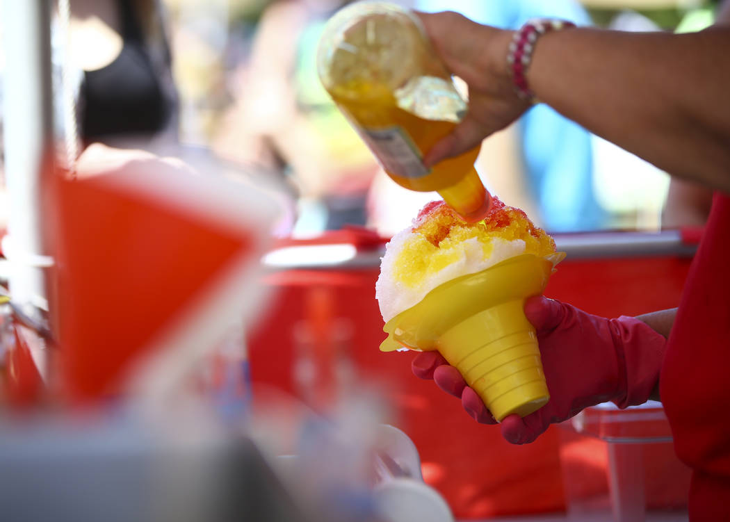 Shaved ice is prepared during the 'Ohana Festival, celebrating Pacific Islander and Hawaiian cultures, at the Springs Preserve in Las Vegas on Saturday, May 6, 2017. Chase Stevens Las Vegas Review ...