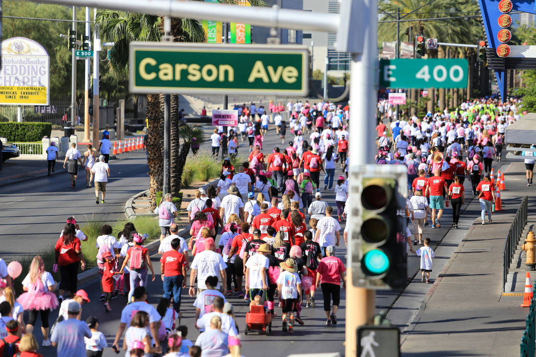 Walkers and runners move along Las Vegas Boulevard during the Susan G. Komen Race for the Cure on Saturday, May 6, 2017, in Las Vegas. Brett Le Blanc Las Vegas Review-Journal @bleblancphoto