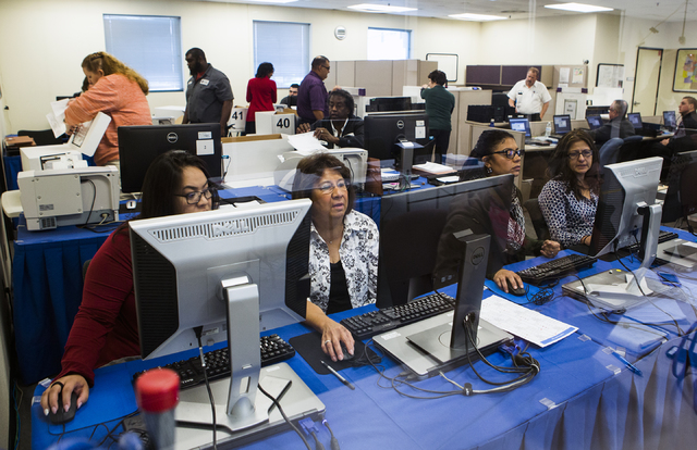 Clark County Election personnel during a voter recount at the Clark County Election Department office, 965 Trade Drive in North Las Vegas, on Monday, Dec. 5, 2016. The recount was requested by Roq ...