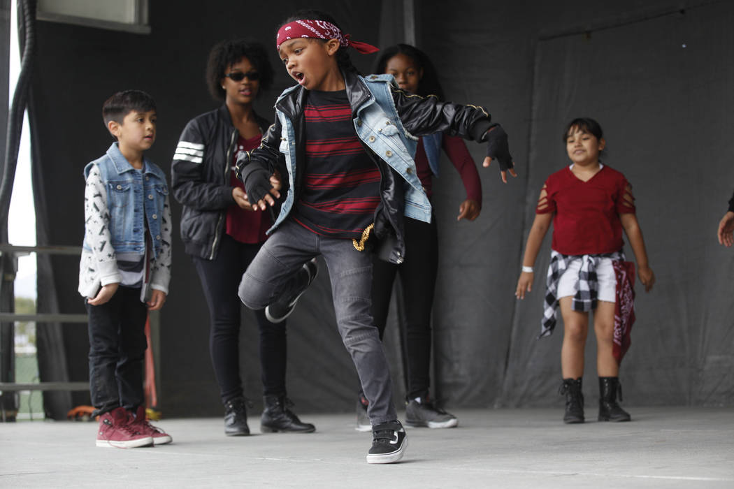 Lyric Ladd, 8, center, dances as part of the Hypnotic dance crew at the RHXTHM Project at the Las Vegas Tap Festival on Sunday, May 7, 2017, at Craig Ranch Regional Park in Las Vegas. Rachel Aston ...