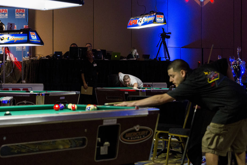 The American Poolplayers Association 2017 8-Ball Classic Poolplayer Championship semifinals at the Westgate hotel-casino in Las Vegas, Sunday, May 7, 2017. Elizabeth Brumley Las Vegas Review-Journ ...