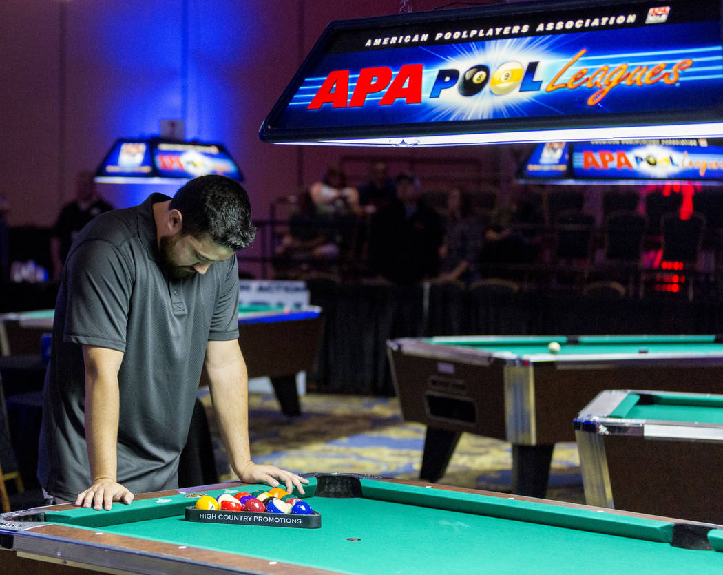 Billards player Edgar Giribaldo takes a second after losing the second round in the Yellow Tier during the American Poolplayers Association 2017 Poolplayer Championship semifinals at the Westgate  ...