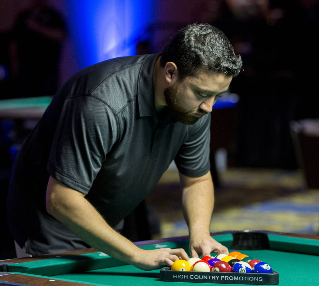 Billards player Edgar Giribaldo plays in the Yellow Tier during the American Poolplayers Association 2017 Poolplayer Championship semifinals at the Westgate hotel-casino in Las Vegas, Sunday, May  ...