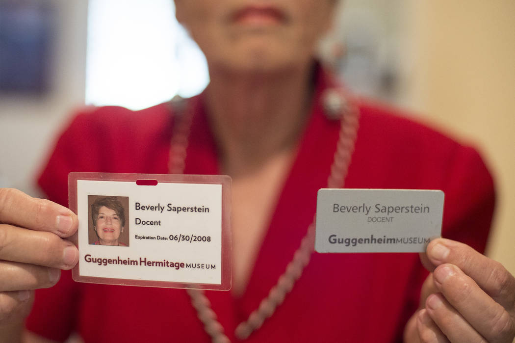 Beverly Saperstein's, 80, shows off her volunteer badges at her home on Wednesday, May 3, 2017, in Henderson. Saperstein has been named Nevada Senior Citizen of the Year 2017 for her long record o ...