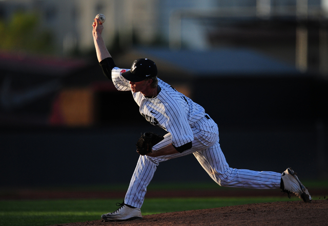 Blaze Bohall, shown last season, took the loss in relief Thursday as UNLV fell to San Jose State 7-4 at Wilson Stadium. (Josh Holmberg/Las Vegas Review-Journal)