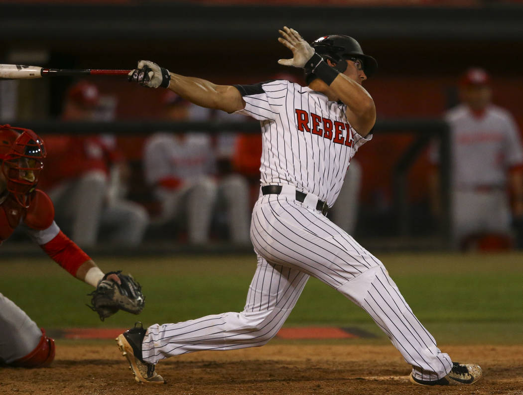 Justin Jones, shown in March, had four hits and four RBIs to power UNLV to a 12-4 win over San Jose State on Friday at Wilson Stadium. (Chase Stevens/Las Vegas Review-Journal) @csstevensphoto
