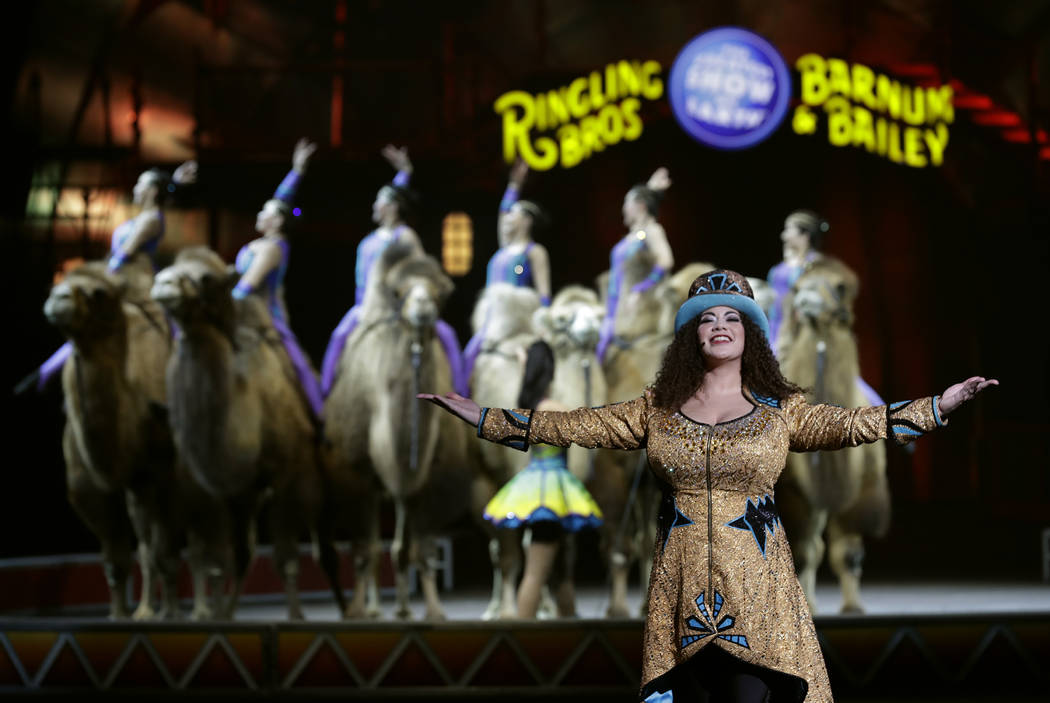 In this Jan. 14, 2017 file photo, Ringling Bros. and Barnum & Bailey Ringmaster Kristen Michelle Wilson performs Saturday, Jan. 14, 2017, in Orlando, Fla. The Ringling Bros. and Barnum & B ...