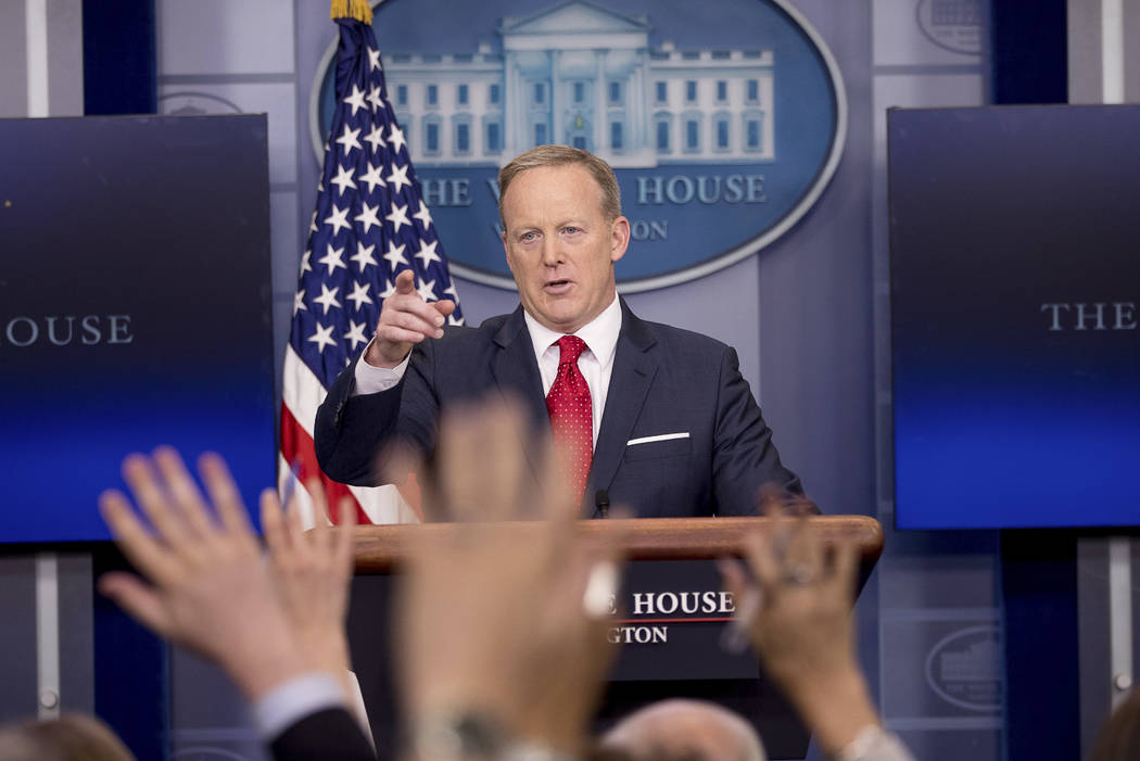 White House press secretary Sean Spicer calls on a member of the media during the daily press briefing at the White House in Washington, Wednesday, May 3, 2017. Spicer discussed health care and FB ...