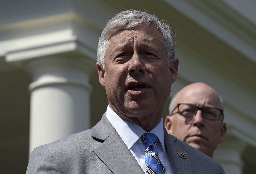 Rep. Fred Upton, R-Mich., left, speaks to reporters outside the White House in Washington, Wednesday, May 3, 2017, following a meeting with President Donald Trump on health care reform. Rep. Greg  ...