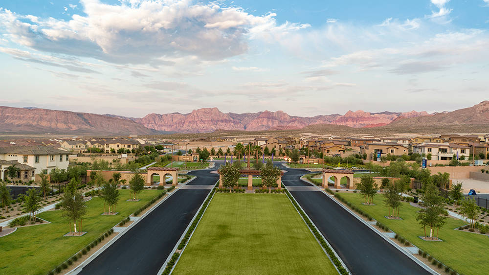 Delano by Lennar Homes shares its entry with another neighborhood in The Paseos village at Summerlin to create a grander sense of arrival in a parklike setting. (Summerlin)