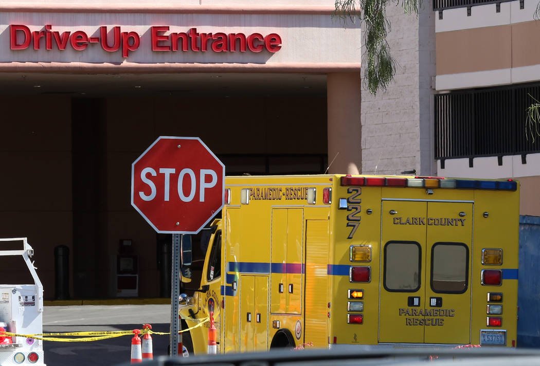 A Clark County Paramedic Rescue ambulance arrives at Sunrise Hospital on Thursday, May 4, 2017, in Las Vegas. A school bus involved in a crash rolled over near the intersection of Carey Avenue and ...