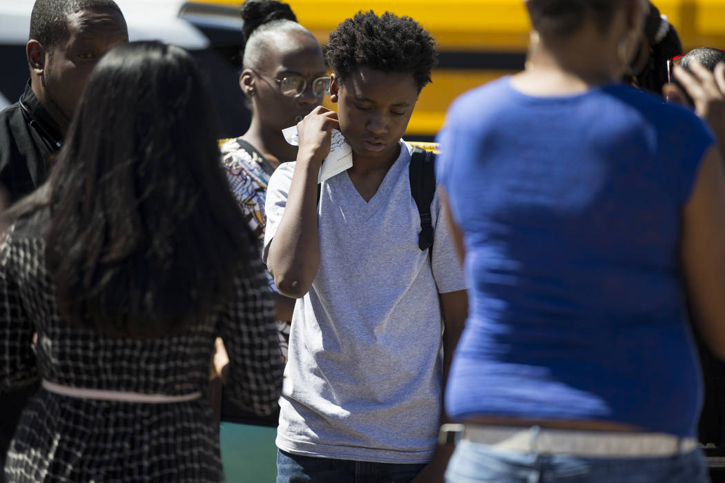 Jonathan Blount, 13, who was in a school bus when it collided with a passenger vehicle at the intersection of Carey Avenue and Nellis Boulevard on Thursday, May 4, 2017, in Las Vegas. Erik Verduzc ...