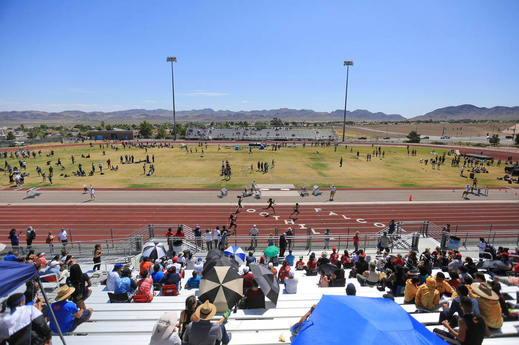Athletes compete in the 4A Sunset and Sunrise region track meet at Foothill High School in Henderson on Saturday, May 6, 2017. Brett Le Blanc Las Vegas Review-Journal @bleblancphoto
