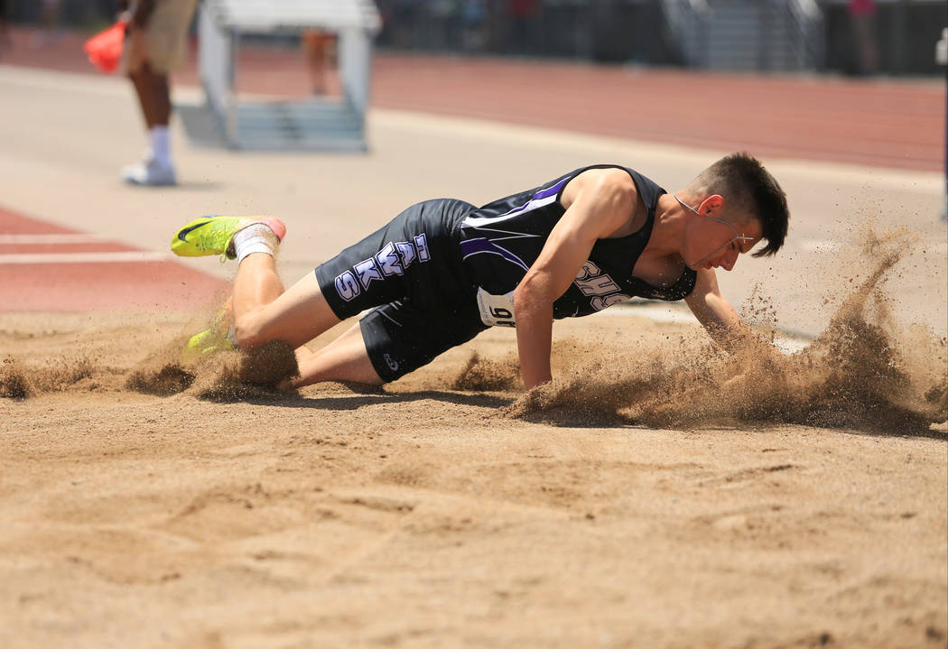 Christian Ambrogio, a senior at Silverado High School, competes in the triple jump during the 4A Sunset and Sunrise region track meet at Foothill High School in Henderson on Saturday, May 6, 2017. ...